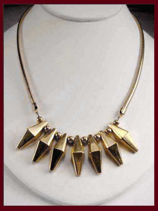 Hobé 14K Gold Filled or Plated Geometric      Necklace :  necklace jewelry jennifer lynn william hobe