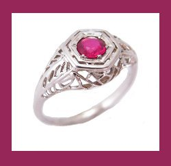Ruby 14k White Gold Filigree Ring