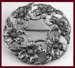 Sterling Wreath of Flowers Danecraft Pin