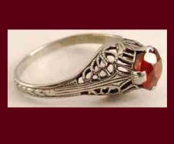 White Gold Filigree Garnet Ring