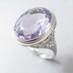 Rose de France 9ct Amethyst 14k White Gold Filigree Ring