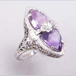 14k Filigree Amethyst Ring