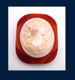 Carmel Colored Bakelite & Celluloid Cameo Brooch