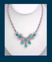 Bogoff Aqua Rhinestone Necklace