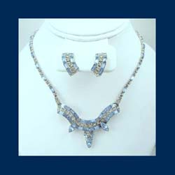 Light Blue Rhinestone Bogoff Necklace & Earrings