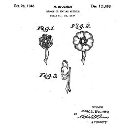 Boucher Night & Day Flower Pin Patent