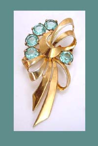 Boucher Light Aqua Blue Rhinestone and Sterling Pin