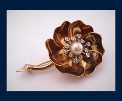 Boucher Night & Day Flower Pin