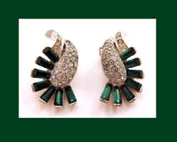 Boucher Emerald Green Rhinestone Earrings