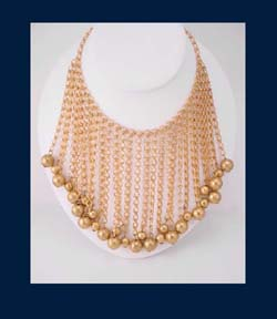 Golden Beaded Bib Necklace :  necklace jewelry beaded bib gilt brass
