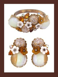 Alice Caviness Rhinestone and Glass Cabochon Bracelet and Earrings