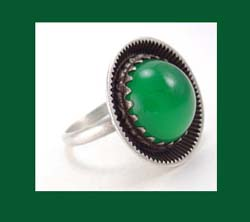 Sterling Chrysoprase Modernist Ring