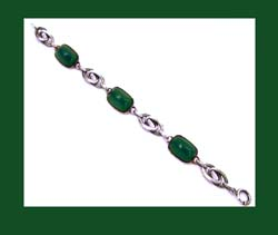 Lovely Chrysoprase Glassand Sterling Bracelet