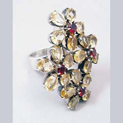 Citrine and Garnet Sterling Large Flower Ring