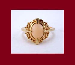 Angel Skin Coral 14k Gold Ring