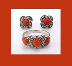 Coral and Marcasite Silver Ring and Earrings