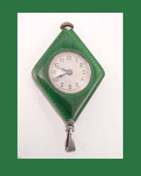 English Sterling & Enamel Art Deco Watch Pendant