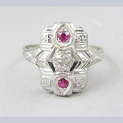 Art Deco 14k Gold .35 ct Diamond and Lab Ruby Ring