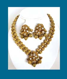 DeMario Golden Bead and Rhinestone Necklace and Earrings