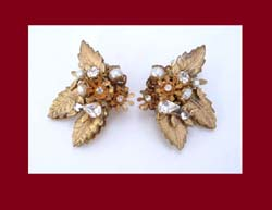 DeMario Golden Leaves, Rhinestones and Glass Pearls Earrings