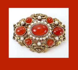 DeNicola Carnelian Glass Cabochon Pin