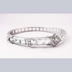 Diamonbar Sterling Crystal Buckle Bracelet
