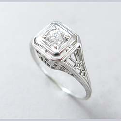 14k White Gold Filigree Diamond Ring