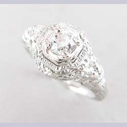 Incredible 18k White Gold Filigree Diamond Ring