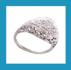 18k White Gold Filigree Diamond Ring