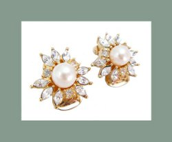 Christian Dior Rhinestone and Glass Pearl Earrings Front