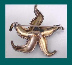 Theodor Fahrner Sterling Vermeil Starfish Brooch Back