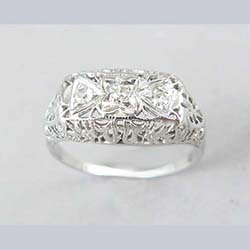 18k White Gold Filigree and 3 Diamond Ring