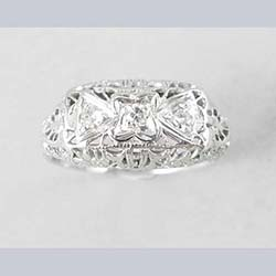 18k White Gold Filigree and 3 Diamond Ring Front