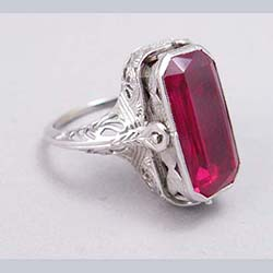 14k White Gold Filigree Ruby and Onyx Flip Ring