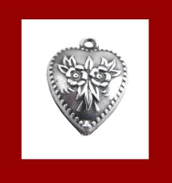 Love Symbolic Forget Me Not Flower Sterling Heart Charm Signature Front