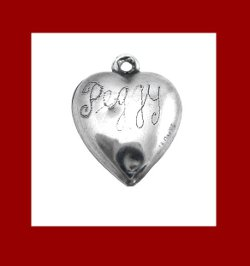Love Symbolic Forget Me Not Flower Sterling Heart Charm Signature