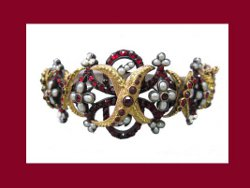 Victorian Silver and Gold Garnet with Pearls Bracelet