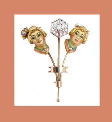 Art Nouveau 14k Gold and Diamond Geisha Girl Pin Front