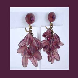 Germany Amethyst Glass Beaded Earrings