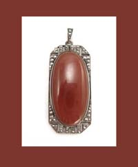 Germany Sterling Carnelian and Marcasite Pendant