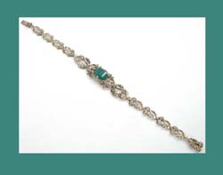 Germany Marcasite and Chrysoprase Glass Sterling Bracelet