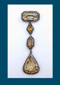 Citrine and Marcasite Sterling Pin from Germany