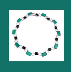 Art Deco Germany Sterling Rock Crystal, Chrysoprase, and Onyx Necklace