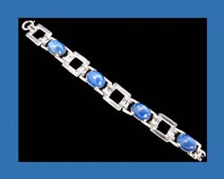 Lapis and Rock Crystal Sterling Bracelet from Germany