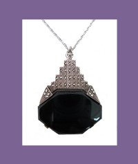 Black Onyx Sterling Art Deco Necklace