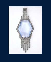 Art Deco Germany Sterling Blue Glass Pendant