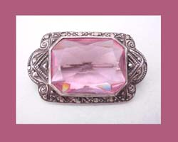 Germany Sterling Pink Rhinestone Pin