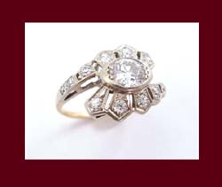 Spectacular 1910-1920s 14k Gold Diamond Ring