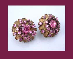 Stanley Hagler Pink Rhinestone & Filigree Earrings