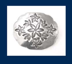 Hand Chased Sterling Silver Floral Brooch